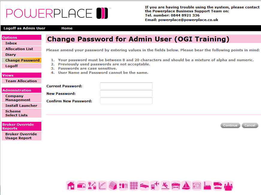 Change Password (PowerPlace) The following fields are displayed: Current Password: Enter your current