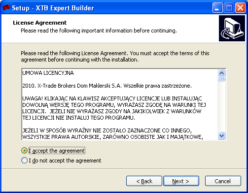 Installation The installation of XTB Expert Builder is very simple process. Just double-click on installer and follow the instructions: 1) Choose the language of installer.