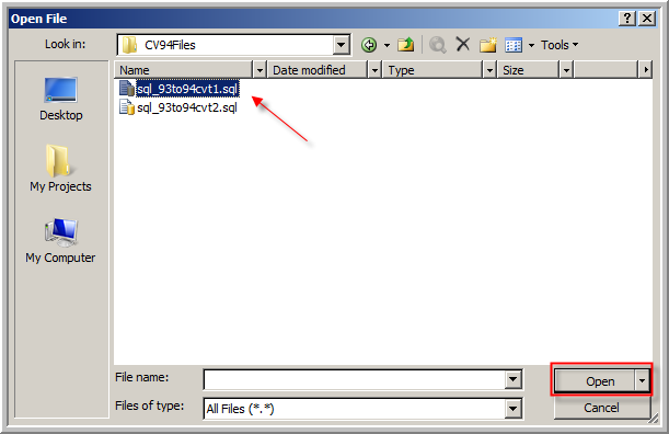 7. On the Open File window, browse to the location where you saved the CVT.sql scripts. In this case they are located under C:\CV94Files. Select the sql_93to94cvt1.sql file and then click Open.