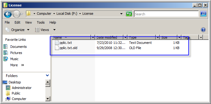 1. Locate the folder named License on the root of the P:\ drive. You will need to rename the previous LytecMD license file to (pplic.txt.old) located within P:\License.