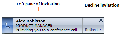 46 Microsoft Office Communicator 2007 R2 Getting Started Guide Join a Conference Call When you place a conference call, the recipients of the call see a conference call invitation, as shown in Figure