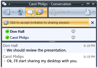 Microsoft Office Communicator 2007 R2 Getting Started Guide 49 Figure 9.3. Show conversation button in the desktop sharing menu bar 2. In the Conversation window, click the Start video call button.