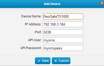 NeoGate TG1600 IP address: 192.168.3.184. Important: Before connecting NeoGate TG1600 device to MySMS, please make sure that the API Settings on NeoGate TG1600 Web Interface are configured correctly.