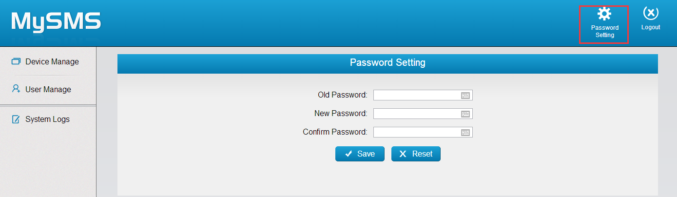 3.3.5 Password Settings Click to change the password of admin account.