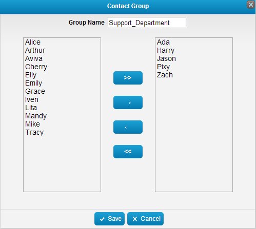 Figure 4-8 Contact Group Add Group 1. Click Add Group button to create a new group. 2.