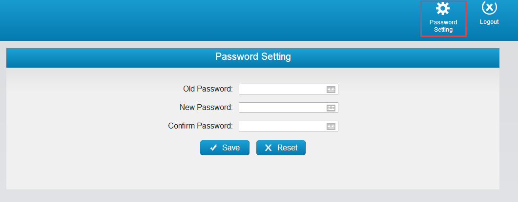 8 Password Settings Click to change the password of user account.
