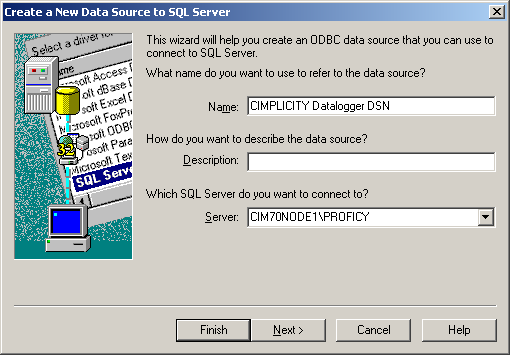 4. From the driver list choose the SQL Server driver and click on the Finish button. The following dialog should be displayed: Figure 7 5.
