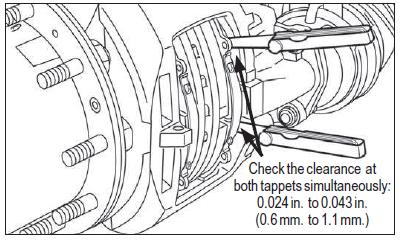 Caliper Movement Test For Knorr calipers, with the brakes in a cool down condition, push the inboard pad away from the tappets Use two long feeler gauges to measure between the whole
