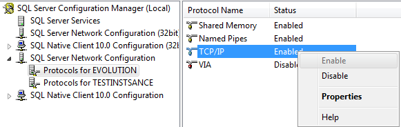 Please note: It may be necessary to enable the TCP/IP from Microsoft SQL Server Configuration Manager to select the database. k. Repeat for each database that will be used with MATCH IT! Antibody v1.