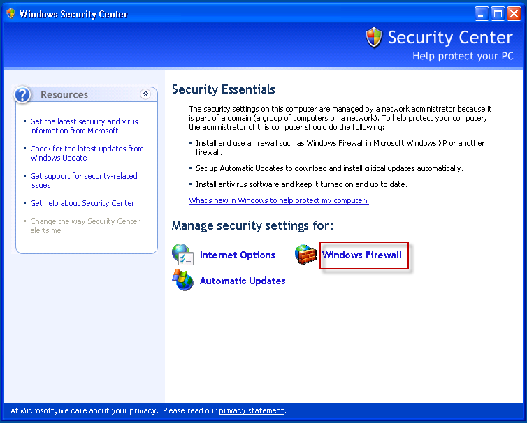 3. In Windows Security Center, click on the