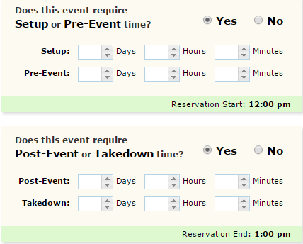 STEP 9 PRE-EVENT/SETUP DURATIONS and POST-EVENT/TAKEDOWN DURATIONS Use this screen if you desire to set up any pre or post setup or takedown activities for your room.