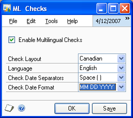 Chapter 1: Setup and Cards Use the following information to enable multilingual checks, select the check, set up the currency terminologies and select the default language for the checkbook and