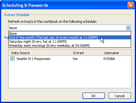 In the Scheduling & Passwords dialog box, select a schedule to add the workbook to. All data sources that require authentication must have an embedded password so that the extract can be refreshed.