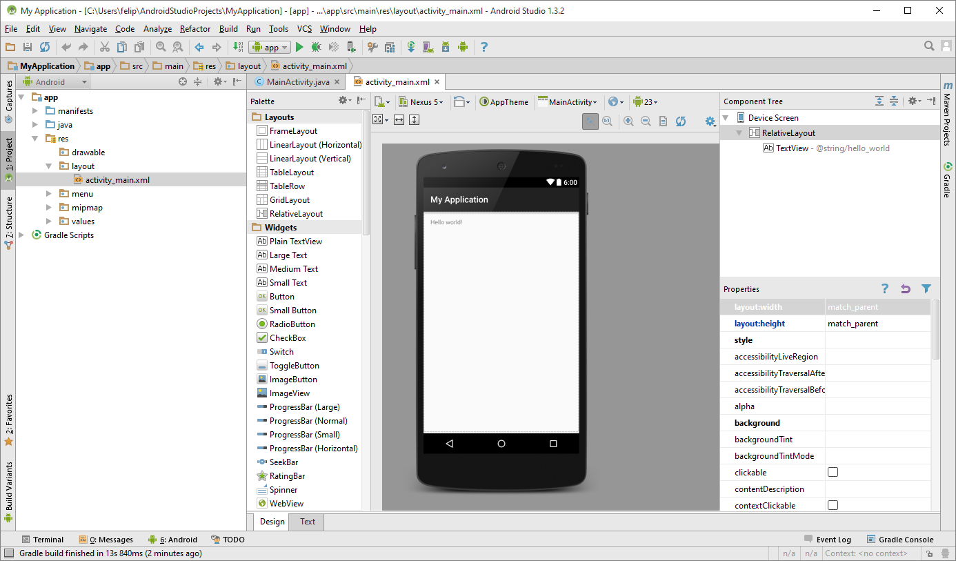 Android Virtual Device manager Palette for Buttons, EditTexts, Layouts, Android SDK Manager