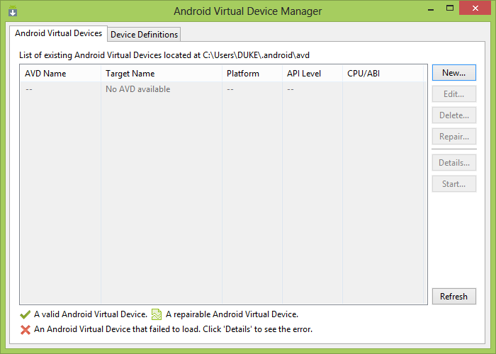 Managing AVDs with AVD Manager select Window > AVD Manager, or click the