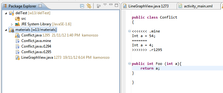 Conflicts While you are working on your code with your partner, sometimes you will modify the same file.