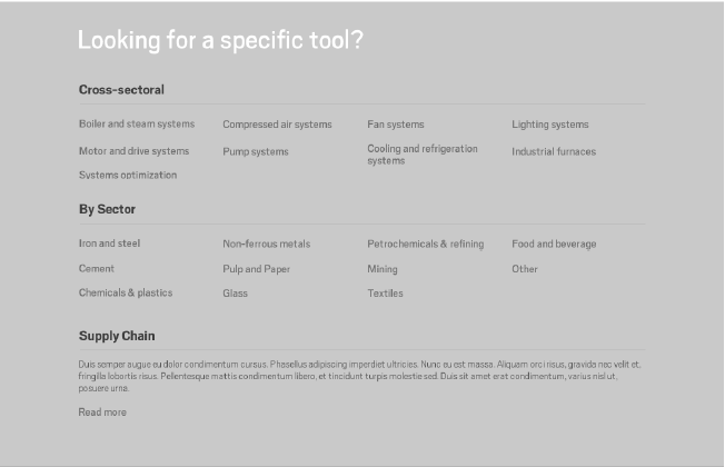 Toolbox users can access tools in multiple ways, such as: EnMS implementation steps Sector Mechanical system (e.g.