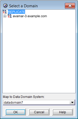Replication To map a domain on a source Avamar server to a destination Data Domain system: 1. In Avamar Administrator, click the Replication tab. The Replication window appears. 2.