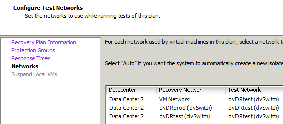 Test Network Use VLAN or isolated network for test environment Default Auto setting does not allow VM