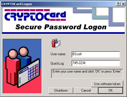 4.2 Using CRYPTOLogon in Single Authentication Mode Once the workstation has rebooted you will be prompted with a CRYPTOCard Secure Password Logon Window.