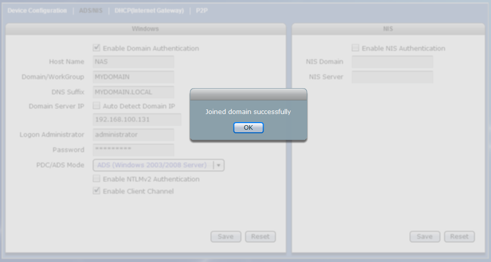 PDC/ADS Mode Select the mode type of the domain server. This can be ADS (Windows 2003/2008 Server) or PDC (Windows NT Server).