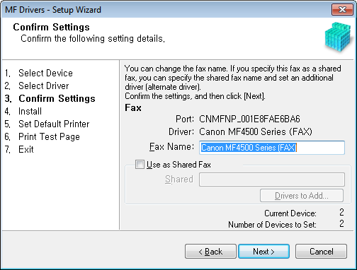 8 Select the function you want to use. (1) Select the function you want to use (driver to be installed). (2) Click [Next].