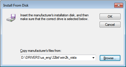 8 Open the folder in which the printer driver is. For 32-bit Open [DRIVERS] -> [us_eng] or [uk_eng] -> [32bit] -> [win2k_vista] in the supplied CD-ROM, and then click [Open].