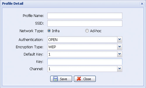 APPENDIX 6 ADDING WIRELESS PROFILE MANUALLY You can also add the wireless profile manually in the system configuration page from the web browser. Step1: Click Add to create a profile manually.