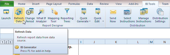 Improved Refresh Data in Report Designer The Refresh Data function refreshes the data in your workbook.