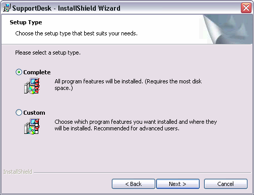 SupportDesk Quick Start Guide On the MSDE / Database Installation screen the default selection is set to install the Microsoft SQL Server Desktop Engine.
