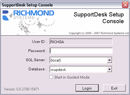 SupportDesk Quick Start Guide Setup Console If the option to launch the Setup Console was selected, the logon box for the SupportDesk Setup Console will appear.