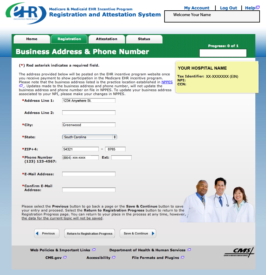 Step 8 Business Address and Phone The business address and telephone number are pulled from the hospital s practice location stored National Plan and Provider Enumeration System (NPPES).