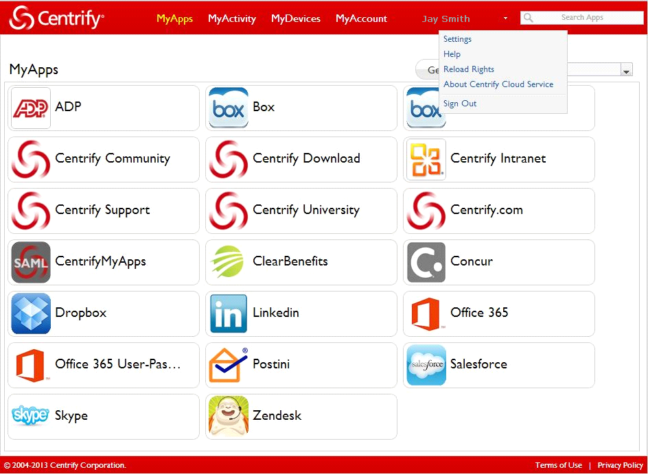 Using the MyCentrify web-based user portal Users first log in to MyCentrify, their single portal that provides access to their web applications, their mobile devices, and their Active Directory