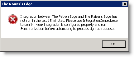 When you select this, you specify that integration is required to run no more than 15 minutes prior to processing sign-up request