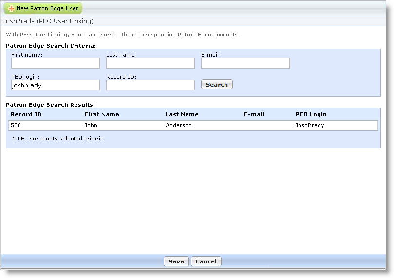 SINGLE SIGN-ON USER AND ADMINISTRATOR WORKFLOW 29 3. Under The Patron Edge Online, if the user is not currently linked to a PatronEdgeOnline record, click Create Link. A search screen appears. 4.