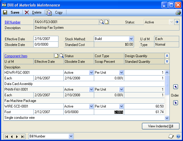 CHAPTER 2 BILL OF MATERIALS MAINTENANCE You can enter all four types of dates in the Bill of Materials Maintenance window.