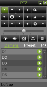Figure 17 PTZ Control Mode 3. Control the PTZ by using PTZ control buttons. Pan and tilt PTZ by clicking on the directional buttons.
