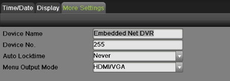 Figure 24 More Settings Menu The settings available to configure in this menu include: Device Name: Edit the name of the device. Device No.: Edit the number of the device.