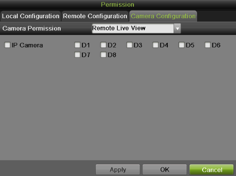 Figure 57 Camera Configuration Permission Settings Menu 3. Set the operation permission of Local Configuration, Remote Configuration and Camera Configuration for the user.