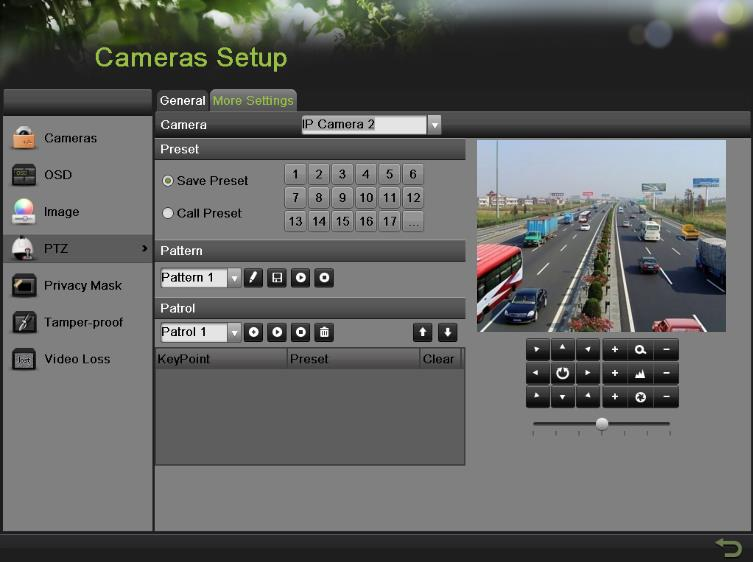 Figure 65 More Settings of PTZ Configuration 3. Select the camera to test in the Camera dropdown list. 4.