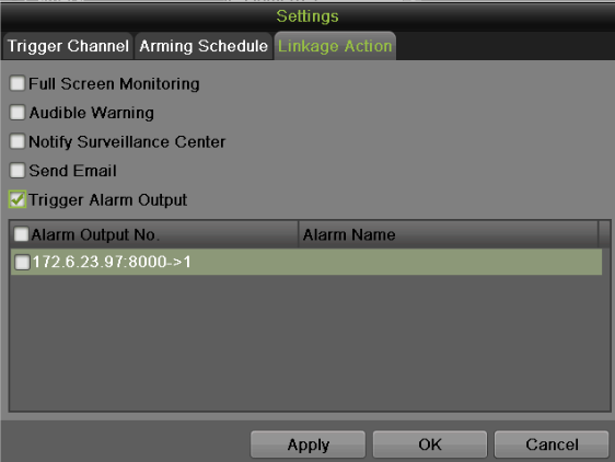 Figure 70 Linkage Action Settings Menu To set other actions, including: Full Screen Monitoring: NVR will display the video image in full screen when motion is detected.