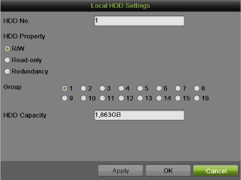 Figure 96 Local HDD Settings 2) Select the HDD Property from R/W, Read-only and Redundancy.