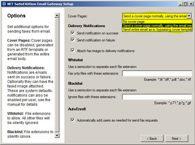 NET SatisFAXtion Email Gateway Installation Guide Page 12 1.