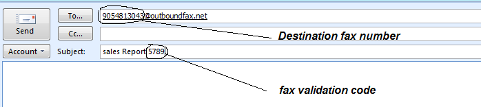 The above picture illustrates how to send a fax from an email client such as Outlook. The To Field must be in destinationfaxnumber@outboundfax.net