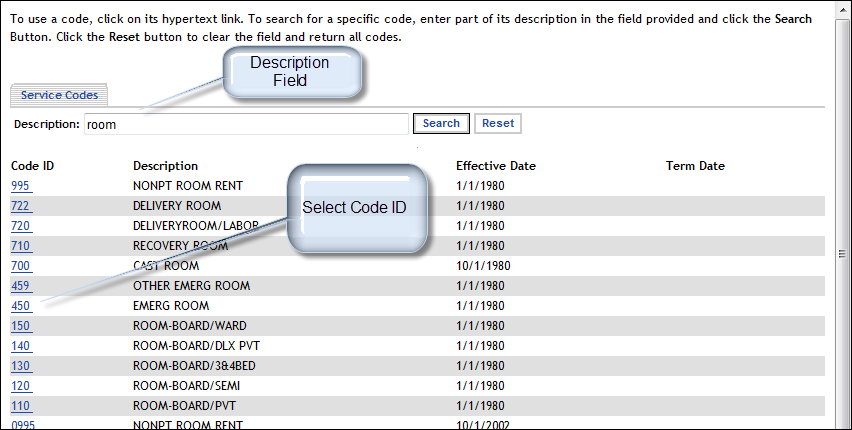 Figure 4-12 Search Results The results, refer to Figure 4-11, consist of a list of Service Codes and Descriptions.