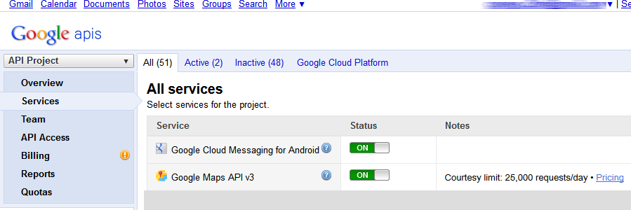 17 Endpoint Protector Mobile Device Management User Manual 2. In the left menu on the Google APIs Console Site go to Services. 3.