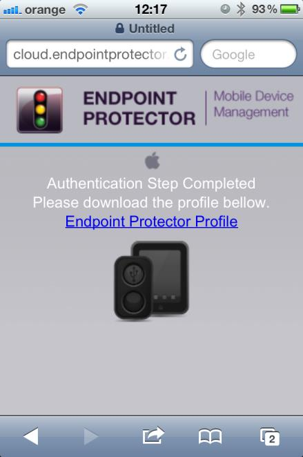 45 Endpoint Protector Mobile Device Management User Manual The user has to click on Endpoint Protector Profile to continue.