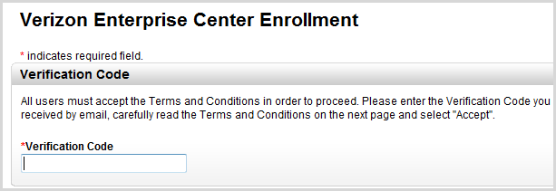 7. A confirmation-enrollment submitted page displays. Once the request has been approved by Verizon Wireless, an email will be sent to the enrollee with a verification code and instructions for logon.