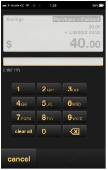 Swipe the card from left to right along the card reader at the top of Albert. Ask the customer to choose their account type by tapping Cheque or Savings. 2.