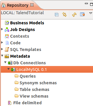 Illustration 16: The new connection in the Repository tab Example 1: Create a new table In this example we will use the Talend database components to create two MySQL tables and insert some data.